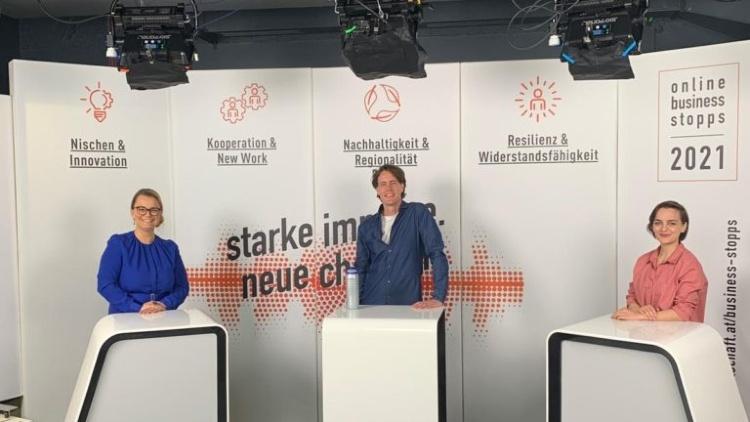 JW Bundesvorsitzende Christiane Holzinger im Talk mit Lukas Angst und Katharina Unger bei den JW Online Buisness Stopps.