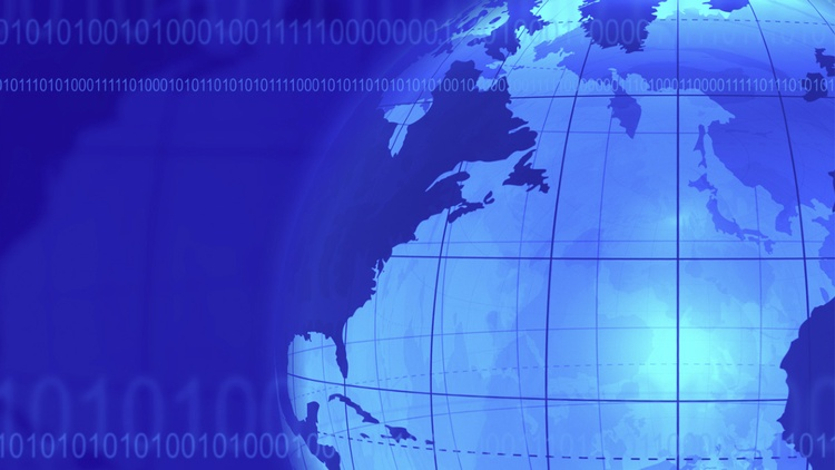 Grafik einer Weltkugel  mit Bändern aus Nullen und Einsen